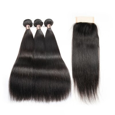 4 PCS/LOT Bundles Straight Unprocessed Human Hair Extension with Lace Closure