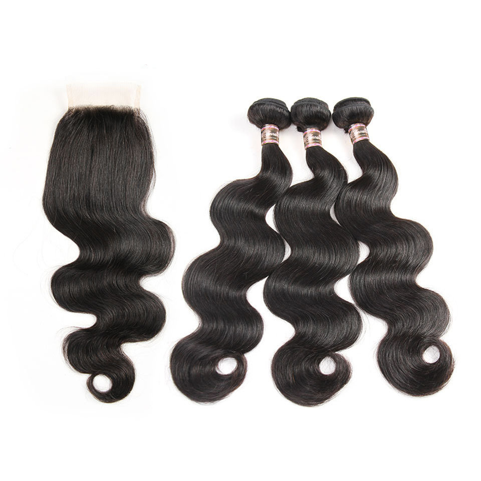4 PCS/LOT Bundles Body Wave Unprocessed Human Hair Extension with Lace Closure Transparent Lace is Available