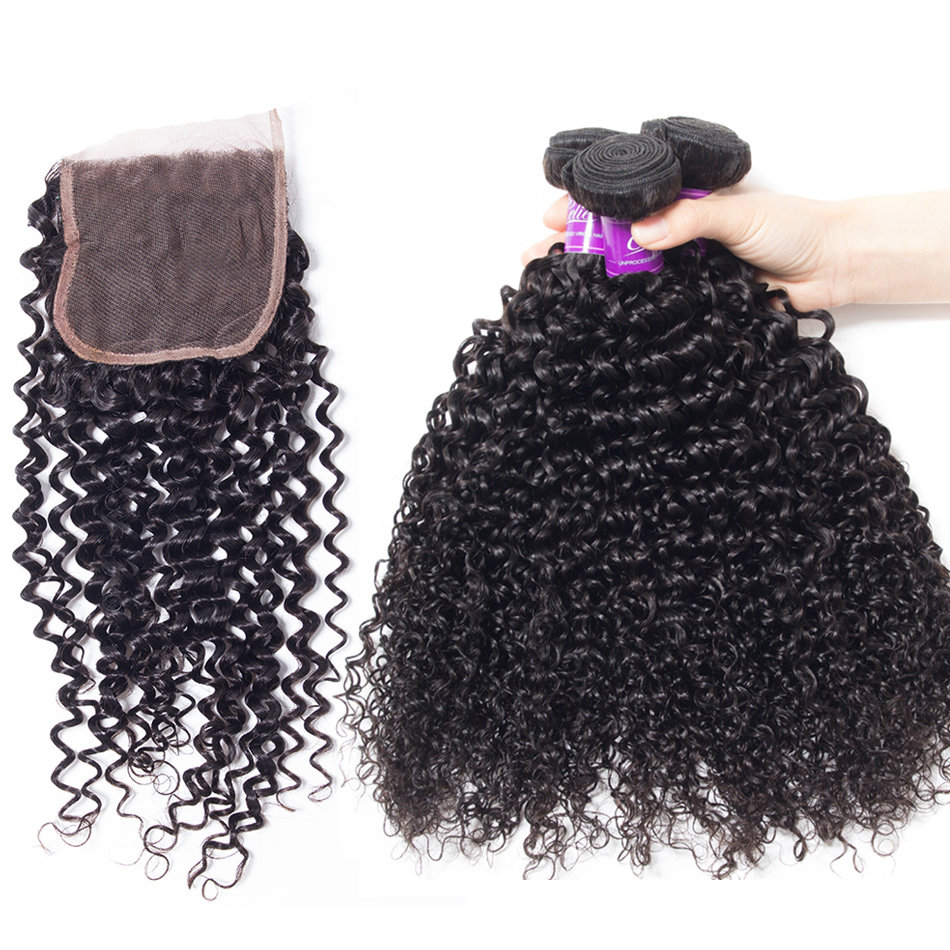 4 PCS/LOT Bundles Curly Wave Unprocessed Human Hair Extension with Lace Closure