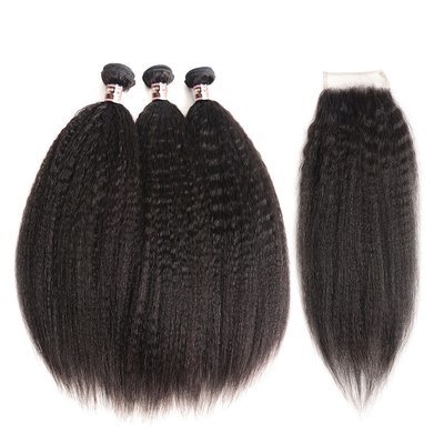 4 PCS/LOT Bundles Kinky Straight Unprocessed Human Hair Extension with Lace Closure