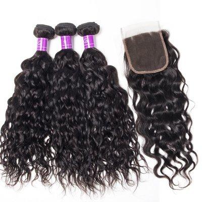 4 PCS/LOT Bundles Natural Wave Unprocessed Human Hair Extension with Lace Closure