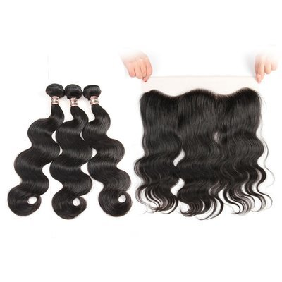 4 PCS/LOT Ear to Ear HD Transparent Lace Frontal With 3 Bundles Virgin Human Hair Weaves body wave