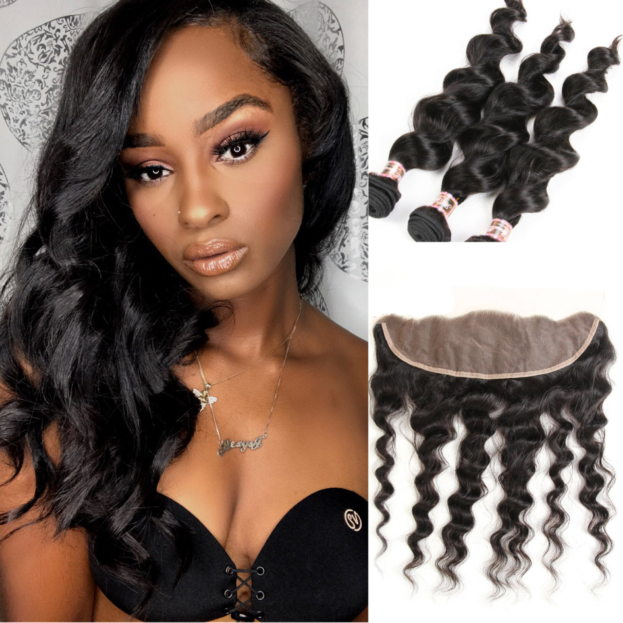 4 PCS/LOT Loose Body Wave Hair Bundles with 13x4 Frontal Closure Bleached Knots Lace Frontal