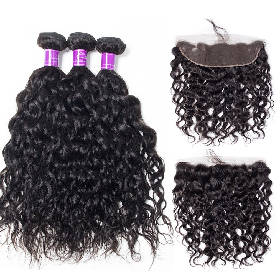 4PCS/LOT Natural Wave Virgin Human Hair Bundles With Frontal 13X4 Ear To Ear Lace Closure With Bundles