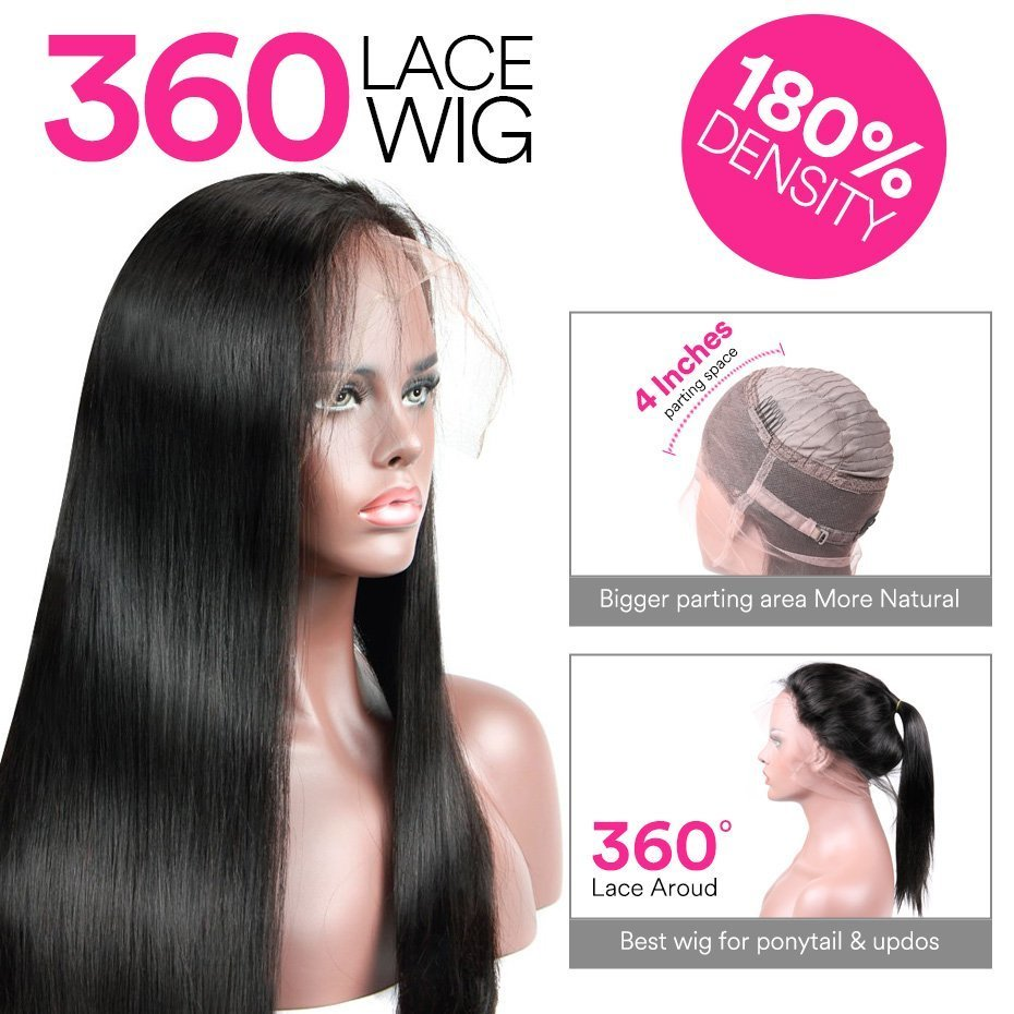 360 Lace Wig Straight Virgin Human Hair With Baby Hair
