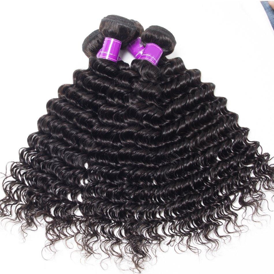 4 PCS Deep Wave Unprocessed Human Hair Extension Bundles