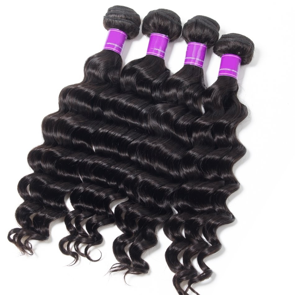 4 PCS  Loose Deep Wave Unprocessed Human Hair Extension Bundles