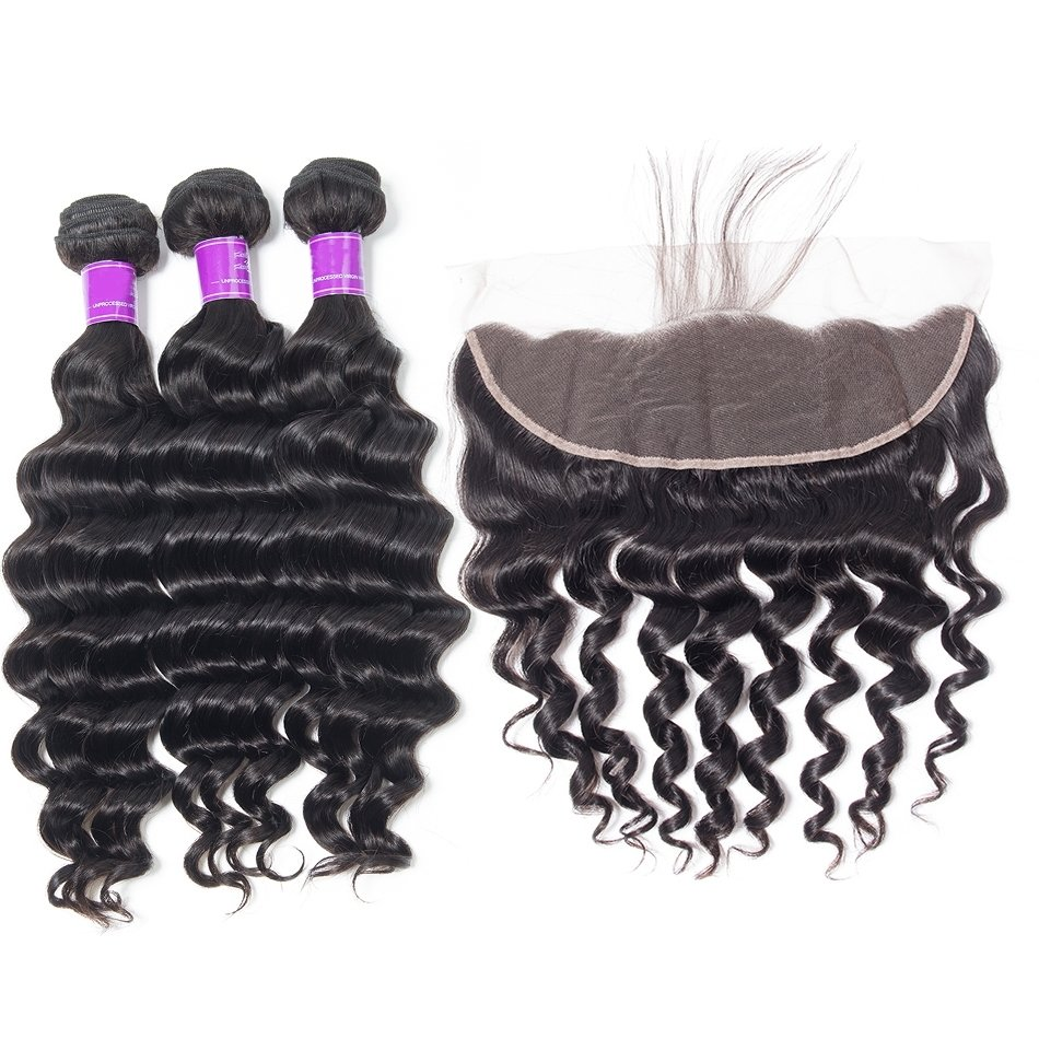 4 PCS/LOT Loose Deep Wave Hair Bundles with 13x4 Frontal Closure Bleached Knots Lace Frontal
