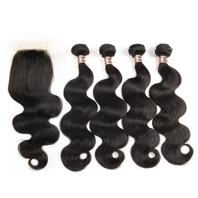 5 PCS/LOT Body Wave Unprocessed Human Hair Extension with Lace Closure Transparent Lace Available