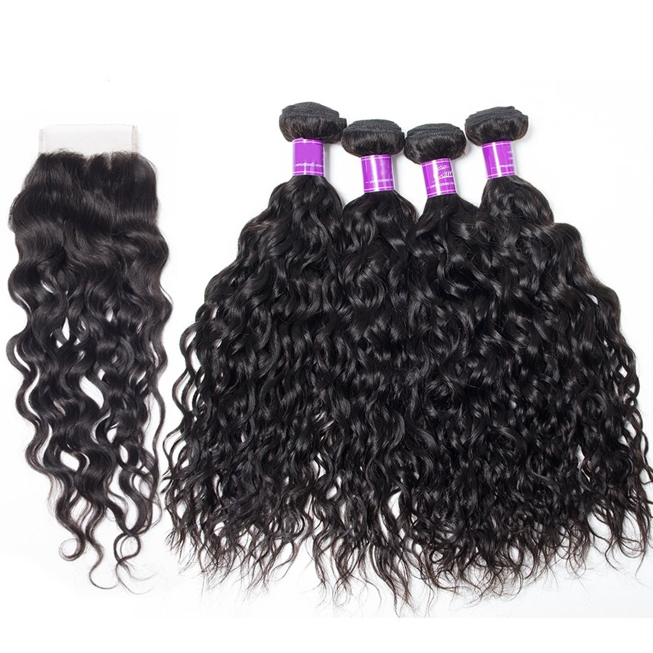 5 PCS/LOT Natural Wave Unprocessed Human Hair Extension with Lace Closure