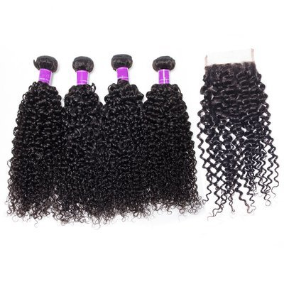 5 PCS/LOT Italian Curly Unprocessed Human Hair Weaves with Lace Closure
