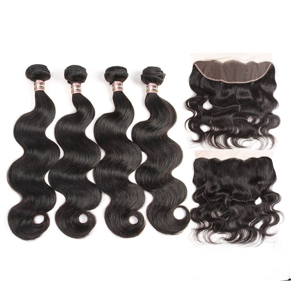 5PCS/LOT Virgin Hair Body Wave with Frontal Ear to Ear Lace Transparent Lace Frontal 13x4 With Bundles Deals