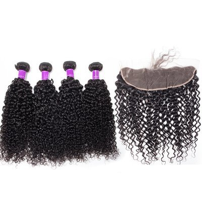 5PCS/LOT Virgin Hair Italian Curly with lace Frontal Ear to Ear Lace Frontal 13x4 Frontal With Bundles Deals