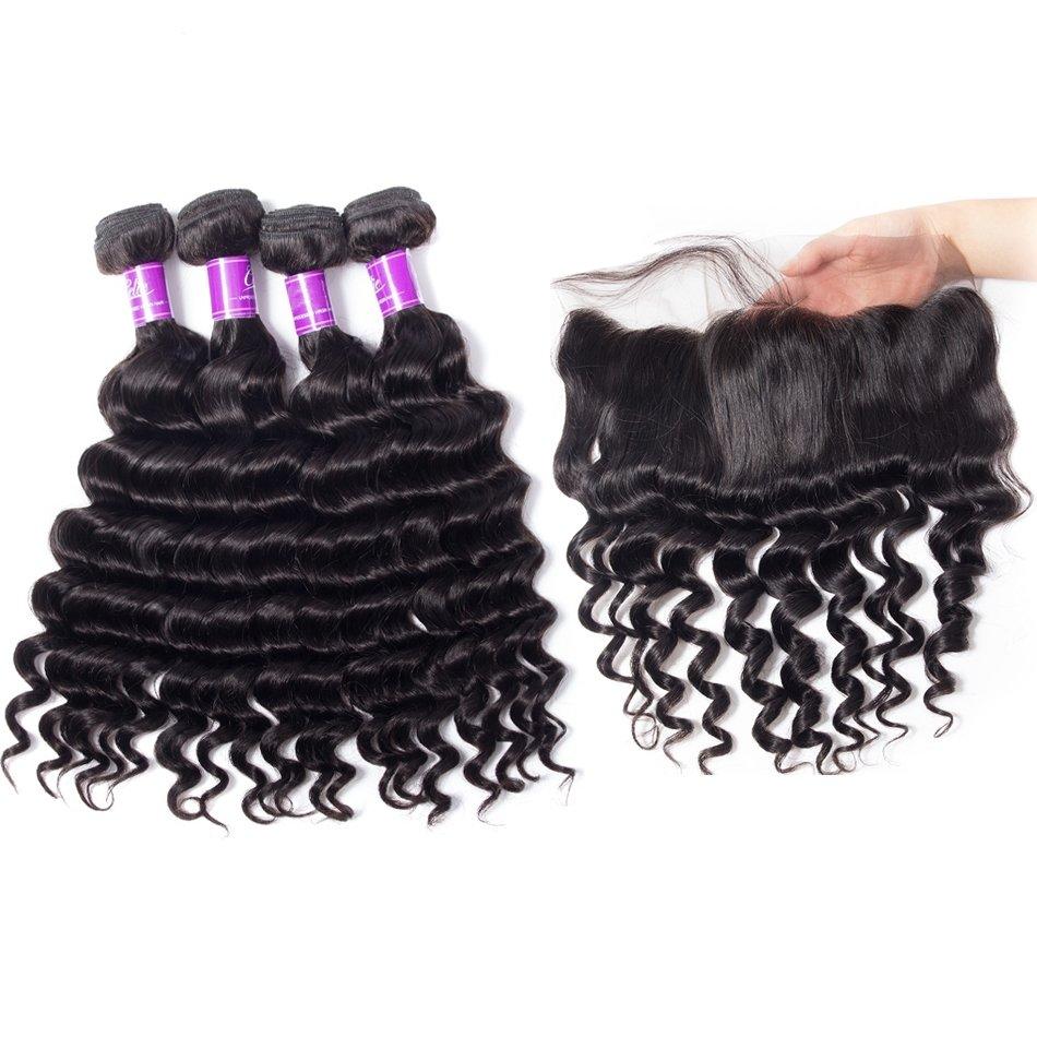 5PCS/LOT Virgin Hair Loose Deep Wave with lace Frontal Ear to Ear Lace Frontal 13x4 Frontal With Bundles Deals