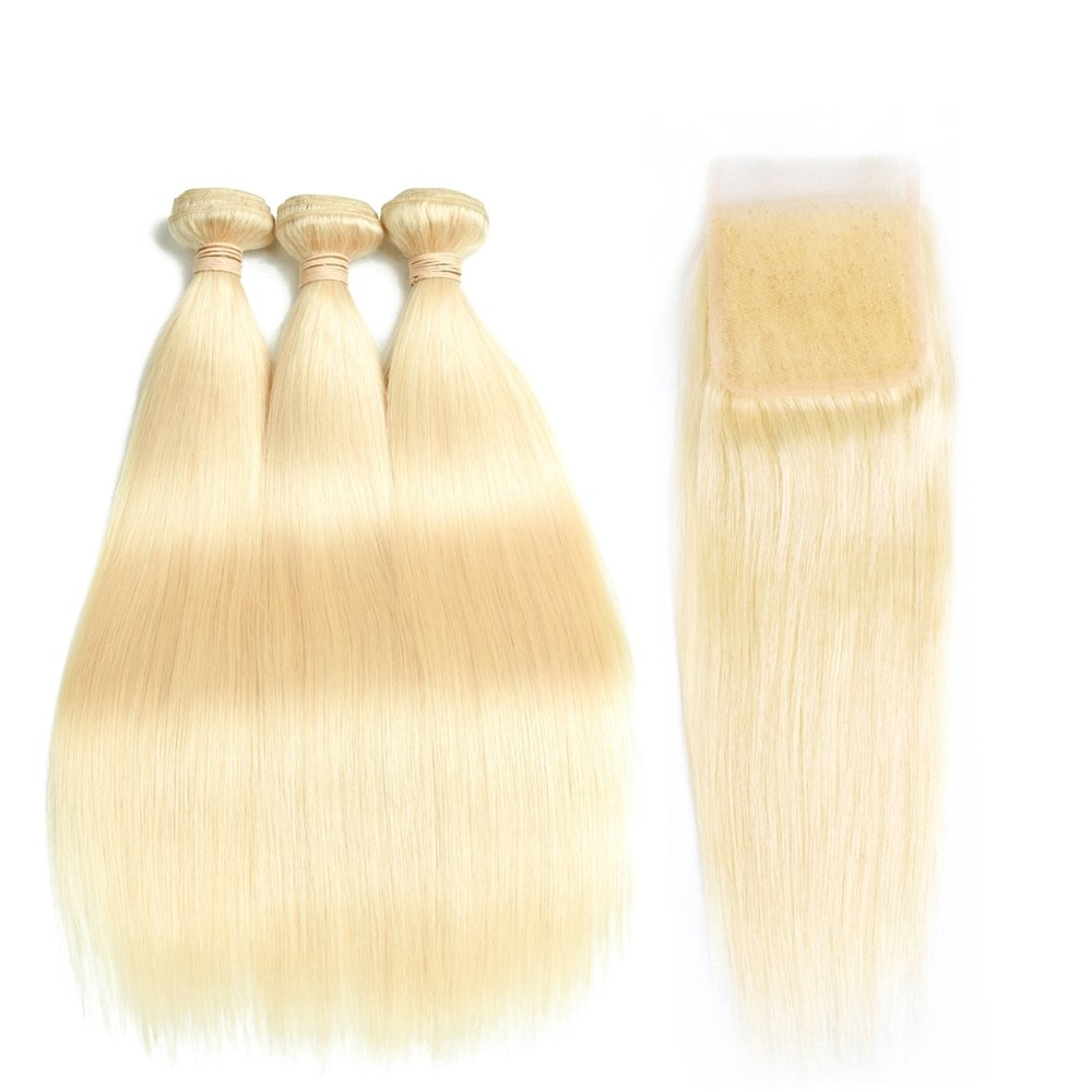 4 PCS/LOT Straight Hair bundles with 4 x 4 Lace Closure Blonde Human Hair Can be dyed into Light color