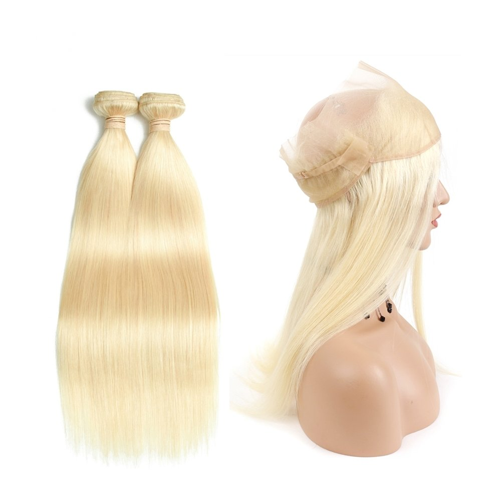 360 Frontal with 2 Bundles Straight Caucasian Hair can be dyed into light color