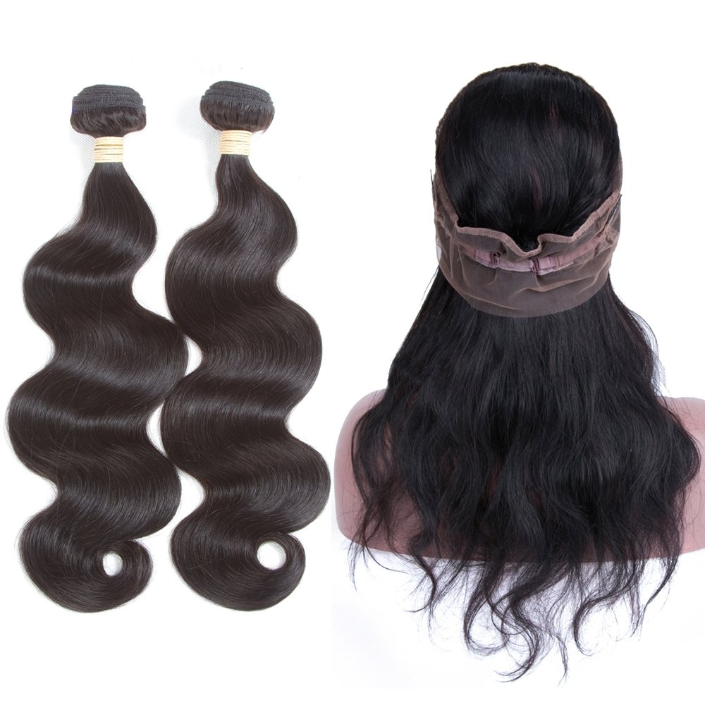 3 PCS/LOT Body Wave 360 Lace Frontal Closure With 2 Bundles Virgin Human Hair Weaves