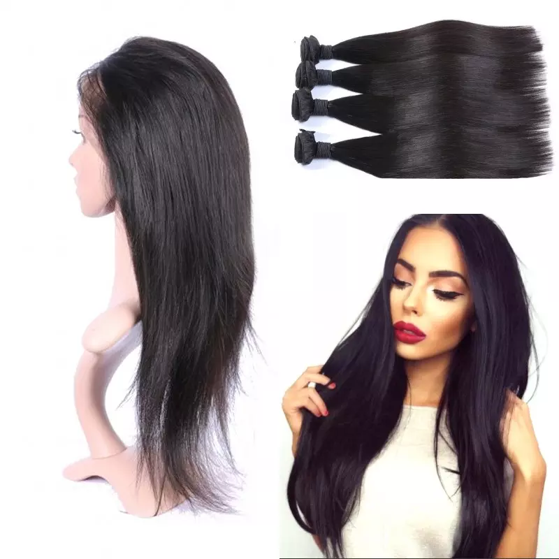 5 PCS/LOT Straight 360 Lace Frontal Closure With 4 Bundles Virgin Human Hair Weaves