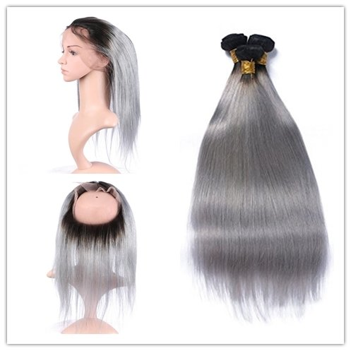 Grey Color With Dark Roots 360 Frontal with 3 Bundles Straight Hair can be dyed
