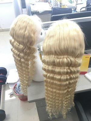 Caucasian 613 Blonde Color Deep Wave Full Lace Frontal Wig Human Hair With Baby Hair