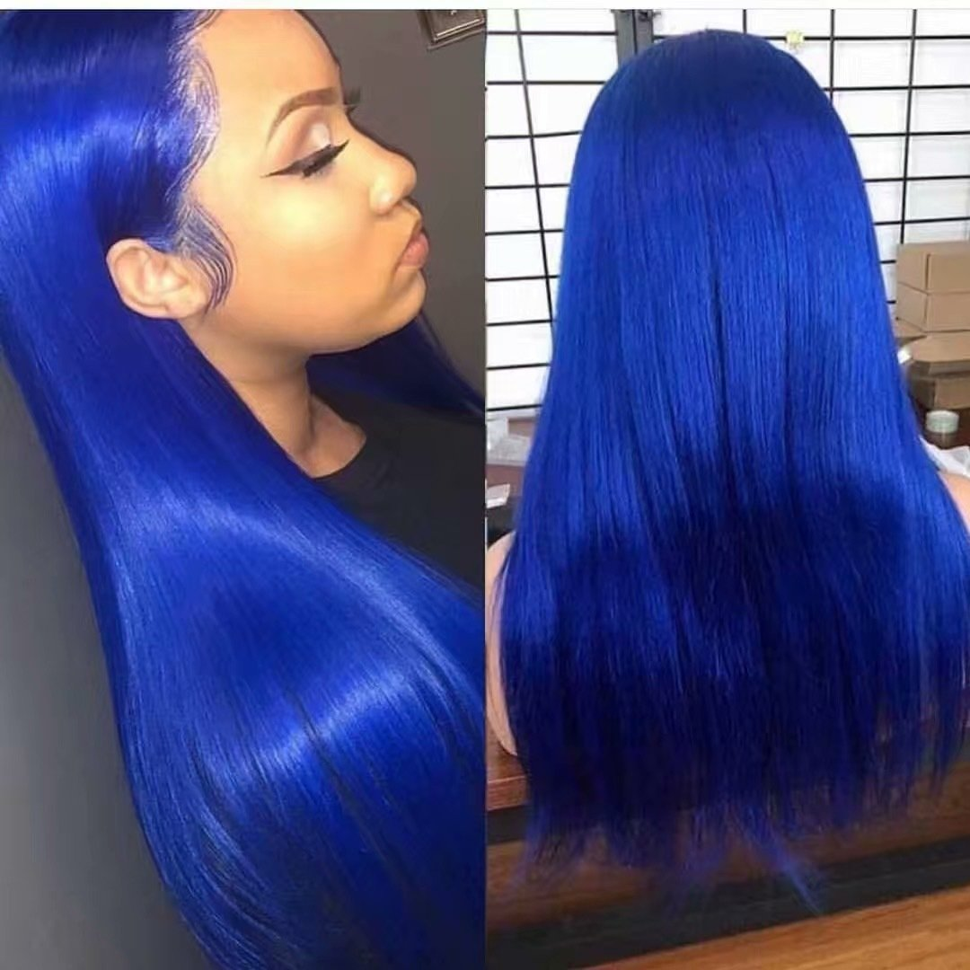 Blue Color  Pre Plucked Full Lace Frontal Wig 100% Human Hair