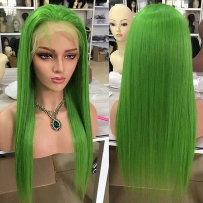 Green  Color  Pre Plucked Full Lace Frontal Wig 100% Human Hair