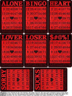 Anti-Valentine Bingo Cards