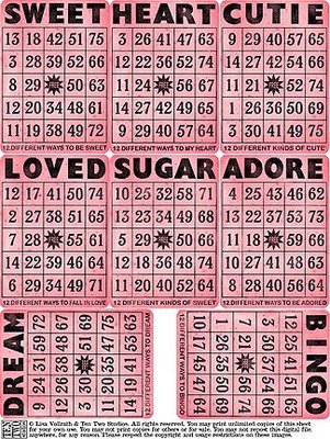 Sweet Pink Bingo Cards