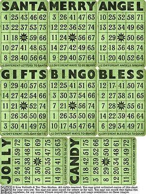 Green Christmas Bingo Cards