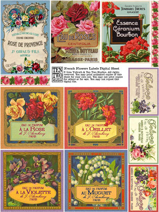 French Flowers Labels