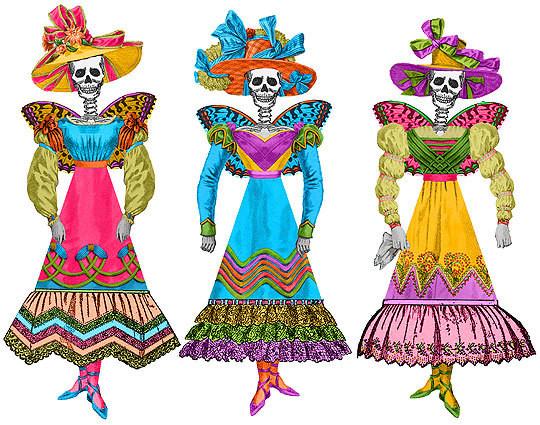 Fiesta Skellie Paper Dolls