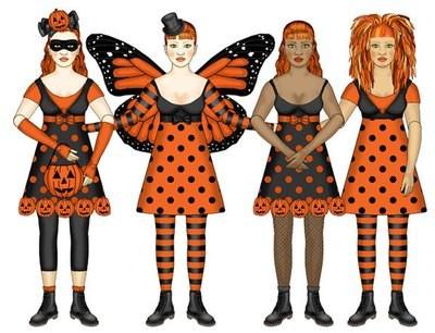 Ginger Halloween Paper Dolls