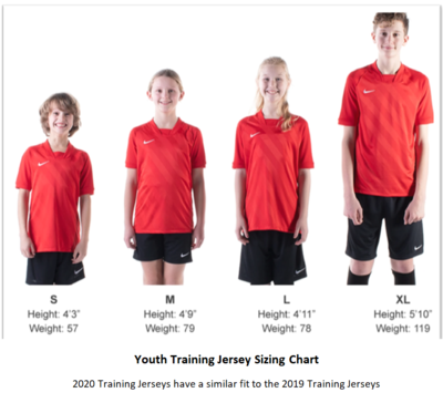 Helpful Sizing Information: Training Jerseys (YOUTH, MENS AND WOMENS)