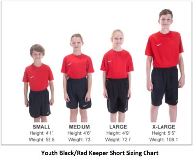 Helpful Sizing Information: Black and Red Keeper Shorts (YOUTH, MENS AND WOMENS)