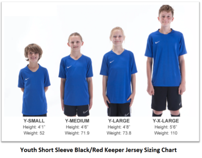 Helpful Sizing Information: Black and Red Keeper Jerseys (YOUTH, MENS AND WOMENS)