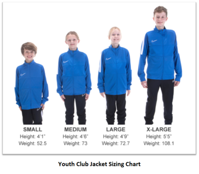 Helpful Sizing Information: Club Jacket (YOUTH, MENS AND WOMENS)