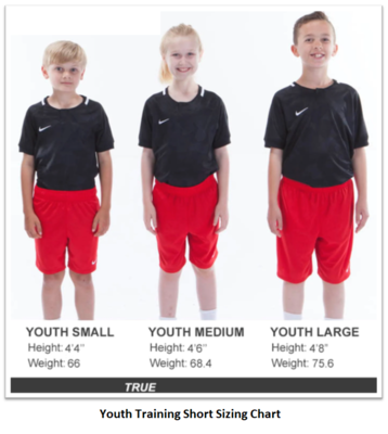 Helpful Sizing Information: Training Shorts (YOUTH, MENS AND WOMENS)