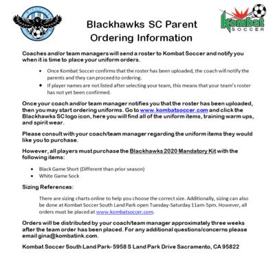 Blackhawks Ordering Information