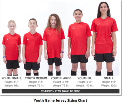 Helpful Sizing Information: Game Jerseys (YOUTH, MENS AND WOMENS)