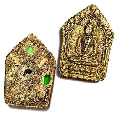 Khun Phaen Prai Kumarn 2515 BE Nuea Khaw Long Sai Rae Tong Kam Pim Sao Mee Sen 4 Gold Takrut Gems & Certificate LP Tim Free EMS