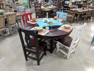 Lauro Walnut Dining Set with White Chairs