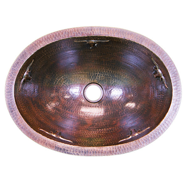 16 Ga Oval Copper Sink with Longhorns