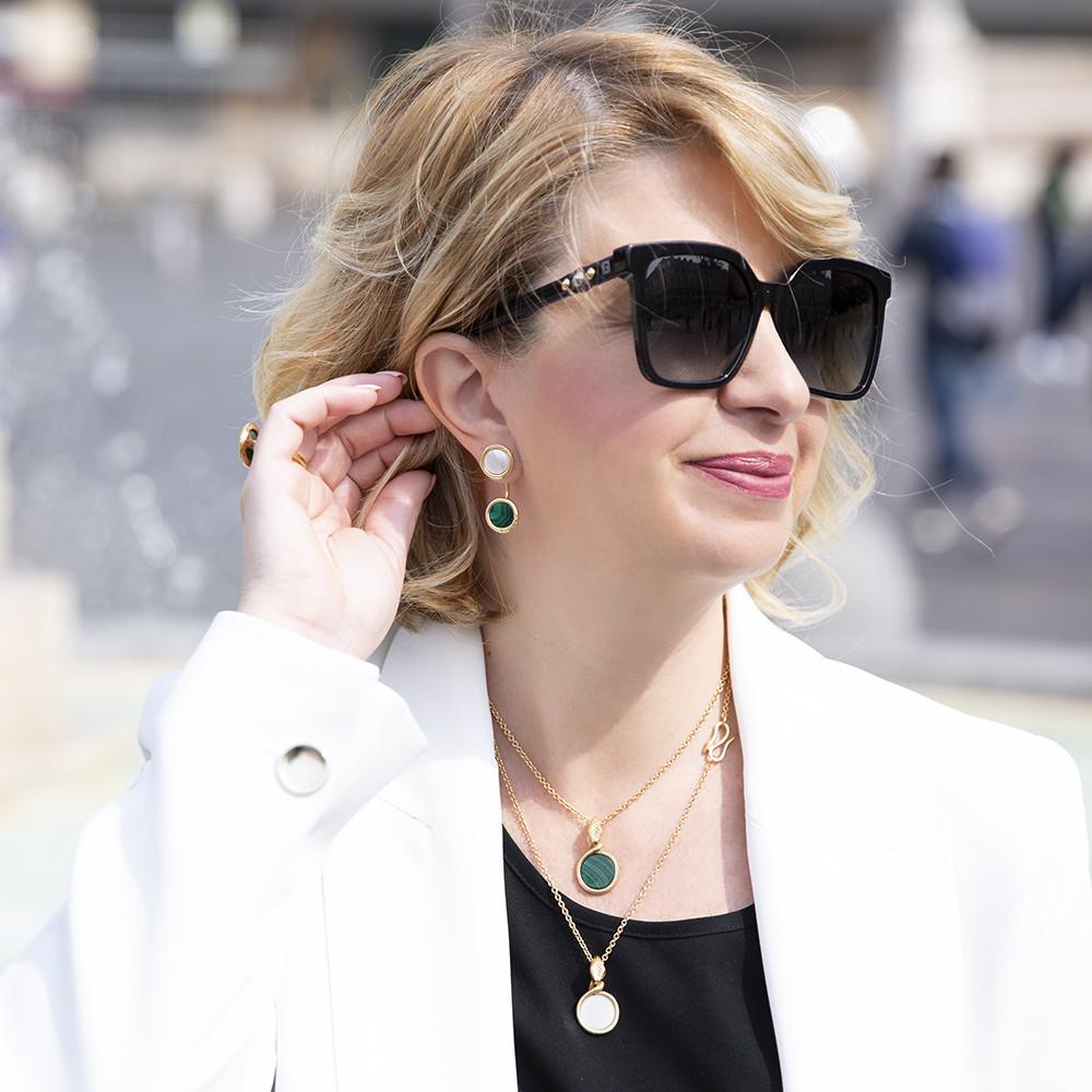 Orecchini Ouroboro Piercing Green - Giulia Barela Jewelry