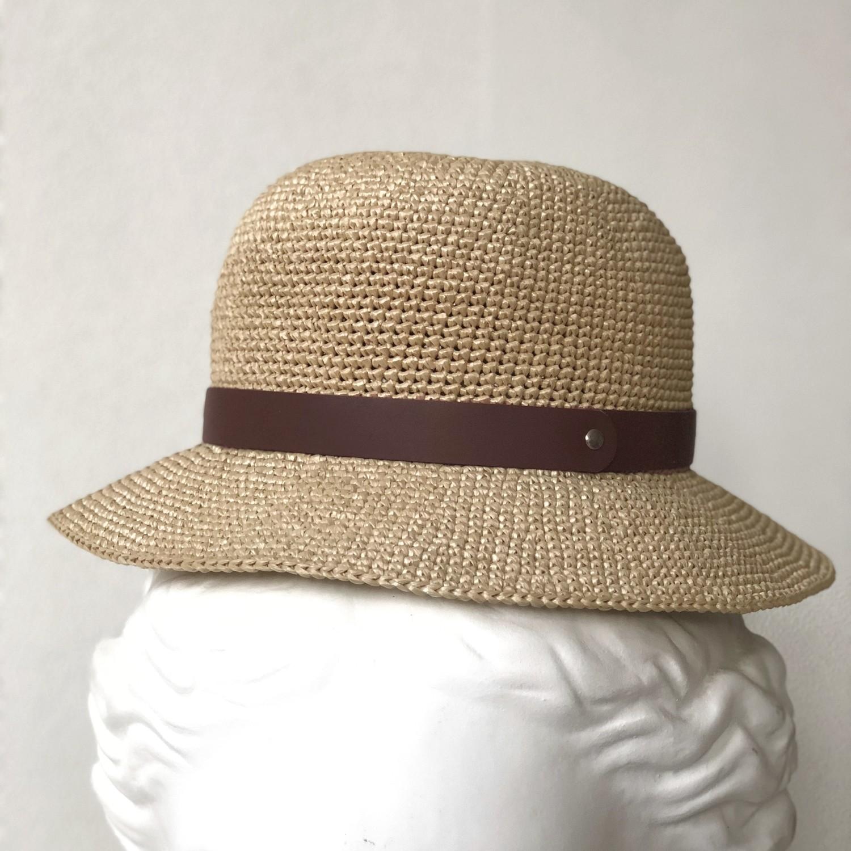 шляпная лента из кожи коричневая (07)