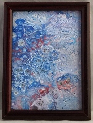6X8 FRAMED ABSTRACT ON RECYCLED  GLASS