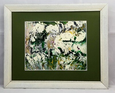 13X16 FRAMED ABSTRACT ON RECYCLED  GLASS