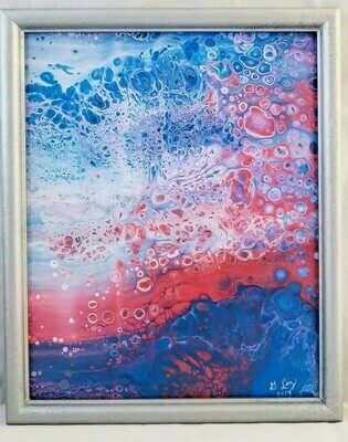 10X12 FRAMED ABSTRACT ON RECYCLED  GLASS