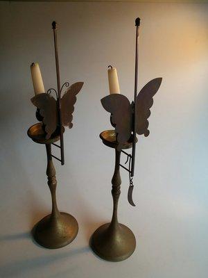 Brass Butterfly Candlesticks