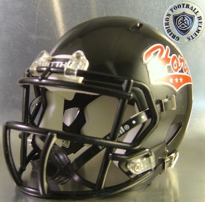 Cedar Hill Horns HS 2015 (TX) Black with 3 star Horns Logo (mini-helmet)