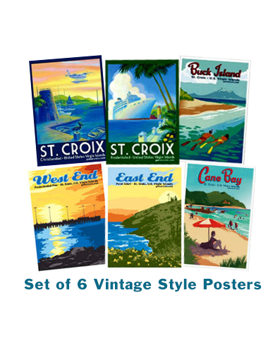 Posters: Set of 6 Vintage Style Posters